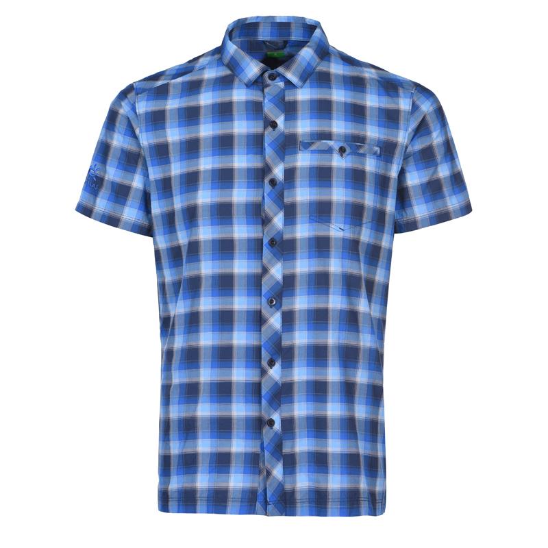 凯乐石户外运动男款攀岩格型短袖快干衣速干透气格子衬衫上衣